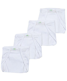 Babyhug Velcro Nappy White Large -  Set Of 4
