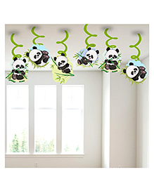 Party Propz Panda Themed Swirl Decoration Green & Black - Pack Of 6