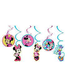 Party Propz Minnie Mouse Themed Swirl Decoration Multicolour - Pack Of 6