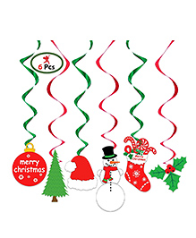 Party Propz Christmas Themed Swirls Decoration Red & Green - Pack Of 6