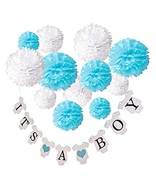 Party Propz It's A Boy Banner With Pom Poms Pack Of 7 - Blue & White