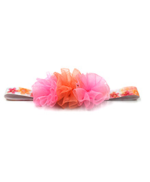 Magic Needles Netted Floral Motif Headband - Pink Orange