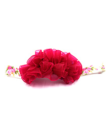 Magic Needles Netted Floral Motif Headband - Dark Pink