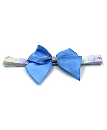 Magic Needles Printed Headband With Bow Motif - Light Blue