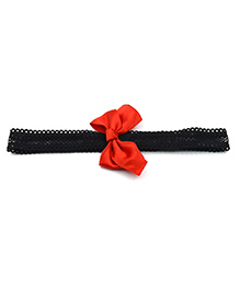 Magic Needles Headband With Satin Bow Motif - Red Black