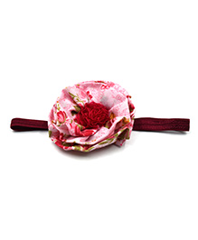 Magic Needles Headband With Layered Floral Motif - Pink - 2346477