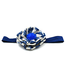 Magic Needles Headband With Layered Floral Motif - Blue