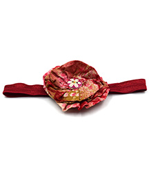 Magic Needles Headband With Layered Floral Motif - Maroon