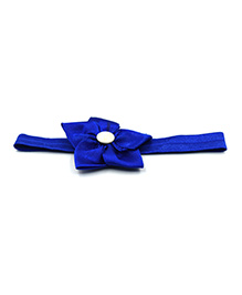 Magic Needles Headband With Satin Floral Motif - Dark Blue