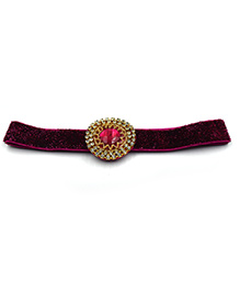 Magic Needles Stone Work Elastic Headband - Maroon