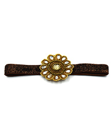 Magic Needles Floral Patch Headband - Brown