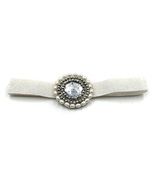 Magic Needles Headband With Pearl Work - White