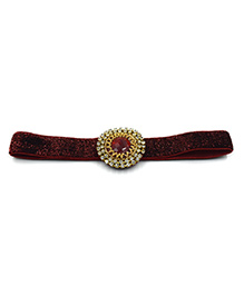 Magic Needles Headband With Studded Patch Work - Brown