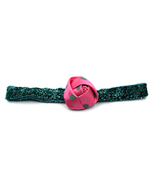 Magic Needles Rose Applique Glittery Headband - Pink