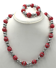 Magic Needles Beads Necklace & Bracelet Set - Fuchsia Silver
