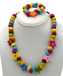 Magic Needles Necklace & Bracelet Set Star Design - Multicolor