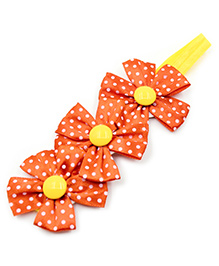 Magic Needles Polka Dots Flower Design Headband - Red