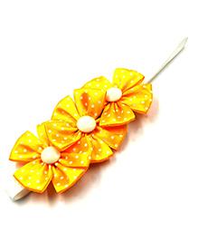 Magic Needles Elastic Headband With 3 Flowers - Yellow
