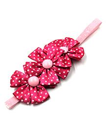 Magic Needles Elastic Headband With 3 Flowers - Dark Pink