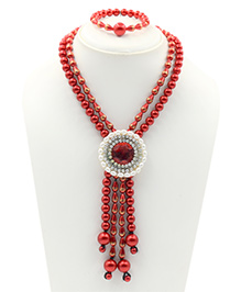 Magic Needles Pearls Design Necklace & Bracelet Set - Red