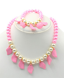 Magic Needles Leaf Design Necklace & Bracelet Set - Pink