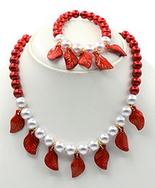 Magic Needles Leaf Design Necklace & Bracelet Set - Red