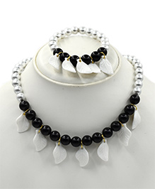 Magic Needles Leaf Design Necklace & Bracelet Set - Black