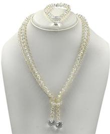 Magic Needles Beads Necklace & Bracelet Set - White