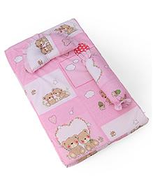 Baby Bedding Set Bear Print - Pink