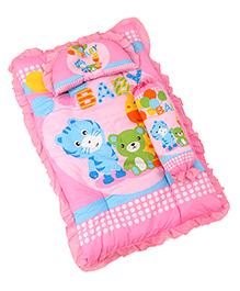 3 Piece Baby Bedding Set Tiger & Bear Print - Pink