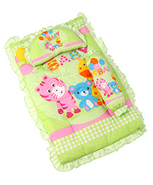 3 Piece Baby Bedding Set Tiger & Bear Print - Green