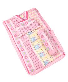 3 Piece Baby Bedding Set Bunny Print - Pink