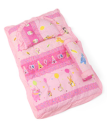 3 Piece Baby Bedding Set Owl Print - Pink