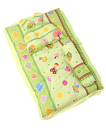 3 Piece Baby Bedding Set House Print - Green