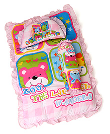 3 Piece Baby Bedding Set Zoo Print - Pink