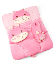 3 Piece Baby Bedding Set Kitty Design - Pink