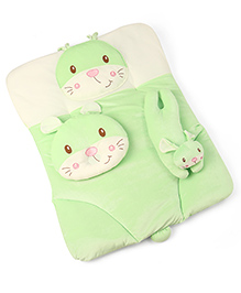 3 Piece Baby Bedding Set Kitty Design - Green