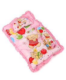 3 Piece Baby Bedding Set Bear Print - Pink