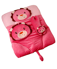 4 Piece Baby Bedding Set Lion Design - Dark Pink