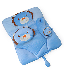 4 Piece Baby Bedding Set Lion Design - Blue