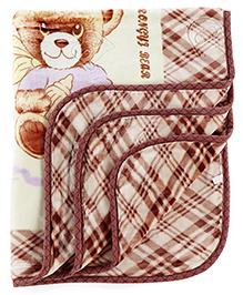 Baby Blanket Teddy Bear Print - Brown