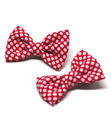 Pigtails And Ponys Polka Dots Print Bow Hair Clips - Red & White