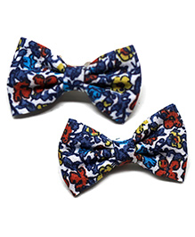 Pigtails And Ponys Printed Bow Hair Clips - Blue & Red
