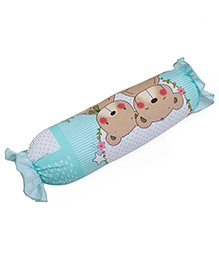 Baby Bolster Bear Print - White Sea Green