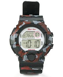Digital Wrist Watch Camouflage Design - Black