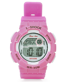 Digital Solid Colour Wrist Watch - Pink