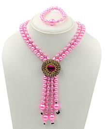 Magic Needles Pearl Necklace & Bracelet Set - Pink