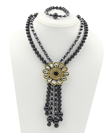 Magic Needles Necklace & Bracelet Set - Black