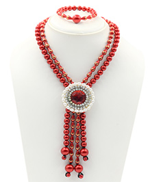 Magic Needles Pearl & Beads Design Necklace & Bracelet Set - Red