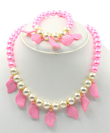 Magic Needles Necklace & Bracelet Set Leaves Design - Pink